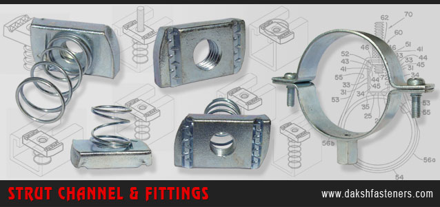 strut channel fittings - spring channel nuts - strut bracketry manufacturers exporters india